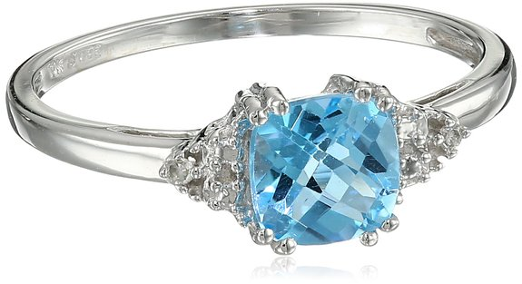 genuine blue ring with topaz march bt crown princess rings birthstone wedding december gold