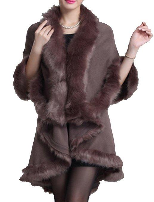 f5b92da934226 Helan Women s Faux Fox Fur Double Layers Shawl Cloak Cape Coat. winter  coats women