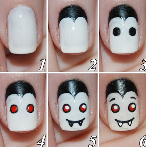 Simple nail art tutorial step by step style arena cute dracula design tutorial nail art prinsesfo Images